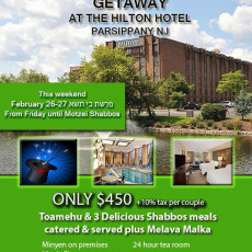 SALE PRICE - midwinter shabbos getaway in hilton parsippany