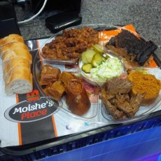 Mosh's Place Thursday Chulent Platter with Kishkhe and side dishes