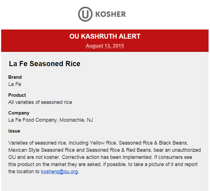 OU Kashruth Alert, La Fe Seasoned Rice