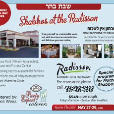 Shabbos getaway 2016 לג בעומר Memorial weekend in the Radisson hotel Piscataway NJ.