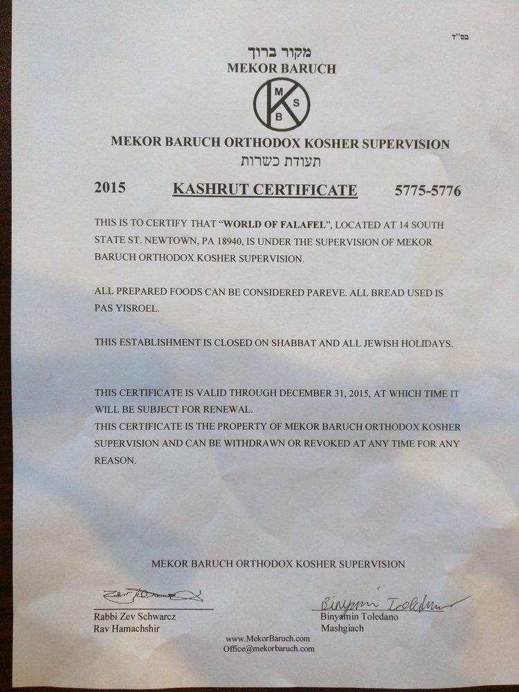 World of Falafel Kosher Certificate